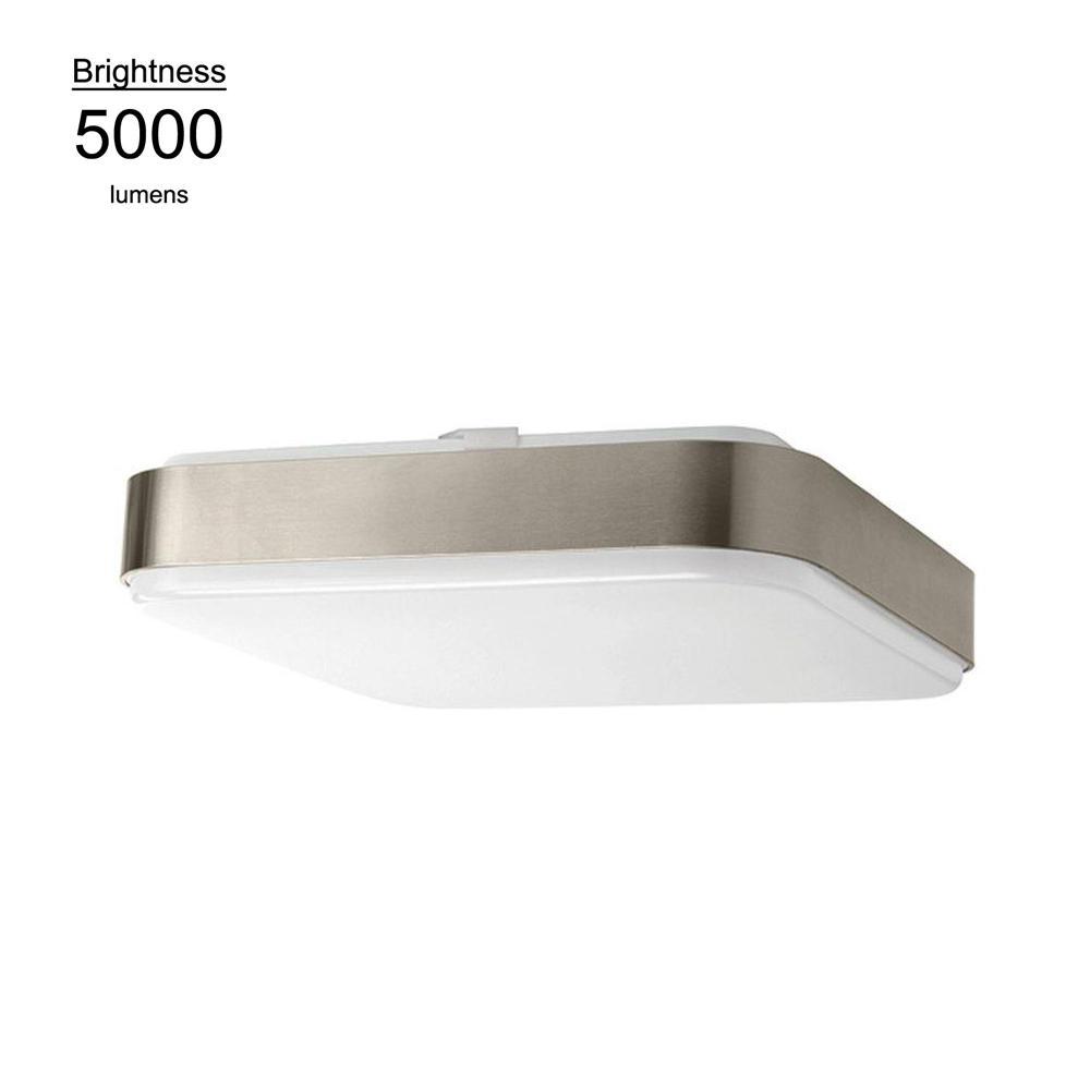 14 in. Brushed Nickel Bright White Square LED Flushmount Ceiling Light
