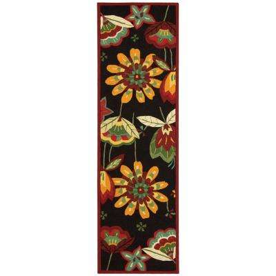 Folk Flowers Black 2 ft. x 8 ft. Runner Rug