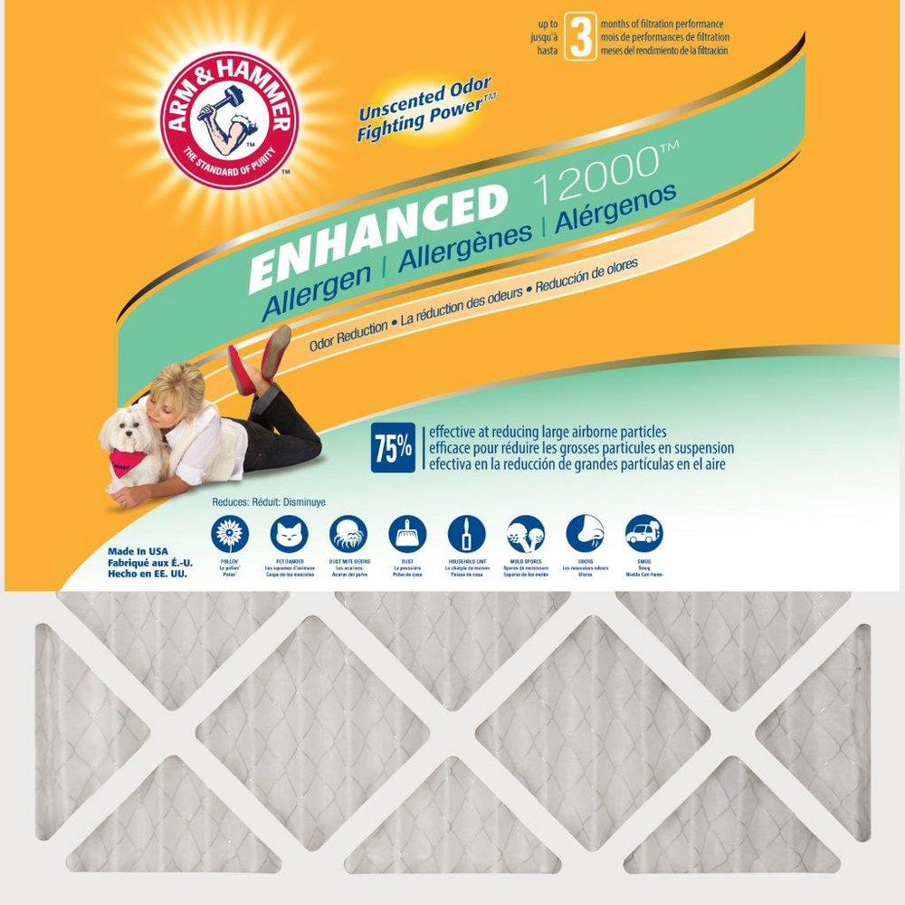 Arm & Hammer Arm & Hammer 20 in. x 25 in. x 1 in. Odor Allergen and Pet Dander Control Air Filter (12-Pack)
