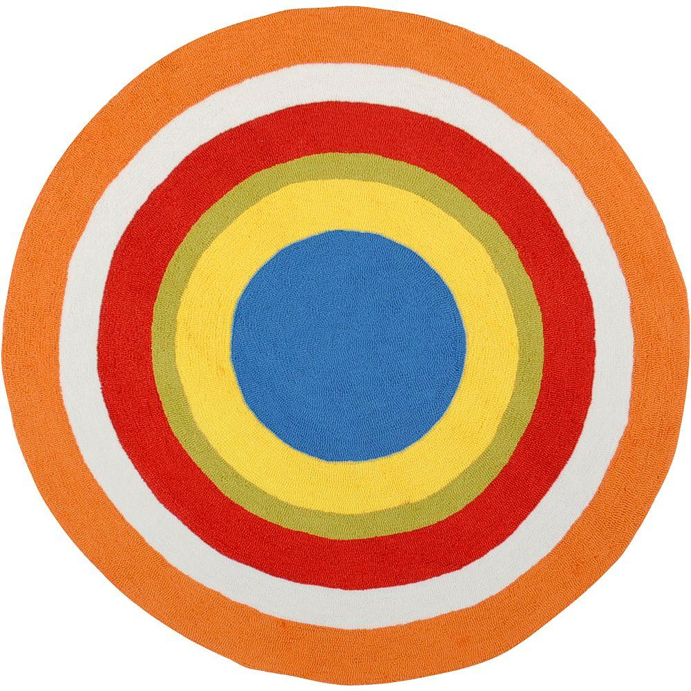 Artistic Weavers Justin Orange Polyester 8 ft. Round Area Rug-DISCONTINUED