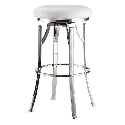Rainier 30 in. White/Chrome Swivel Bar Stool