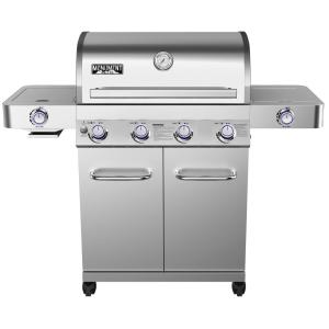 Monument Grills 4-Burner Propane Gas Grill in Stainless with LED Controls, Side and Side Sear Burners by Monument Grills