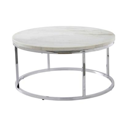 Echo 36 in. White/Chrome Medium Round Marble Coffee Table with Lift Top