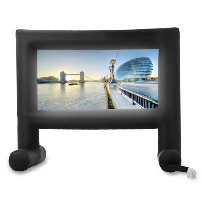 143 in. Giant Inflatable Outdoor Cinema Movie TV Backyard Projector Screen in Black with Blower