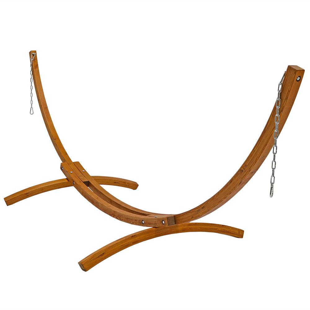 12 ft. Wood Curved Hammock Stand with Hooks and Chains