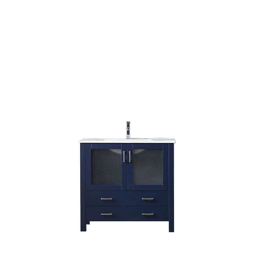 Lexora Volez 36 in. Single Bath Vanity in Navy Blue with Vanity Top in White with White Sink