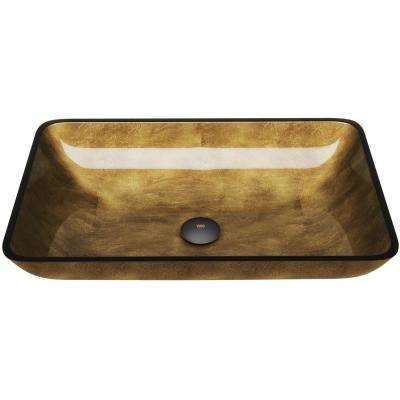 Copper Handmade Glass Rectangle Vessel Bathroom Sink in Copper