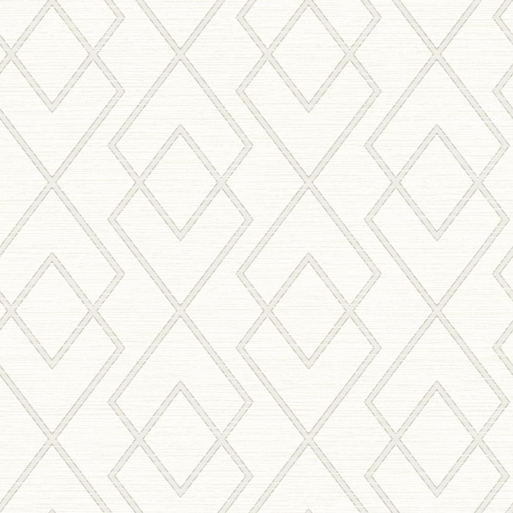 56.4 sq. ft. Blaze White Trellis Wallpaper