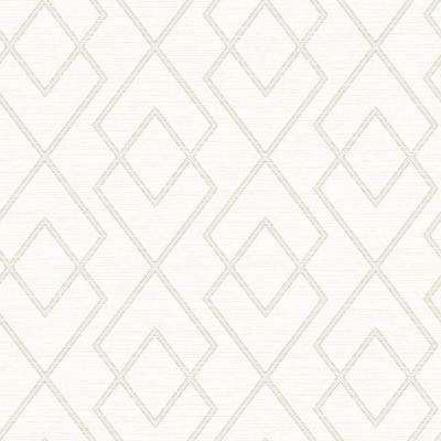 Blaze White Trellis White Wallpaper Sample