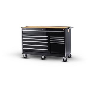 International Tech Series 56 inch 10-Drawer Roller Cabinet Tool Chest with Wood Top in Black by International