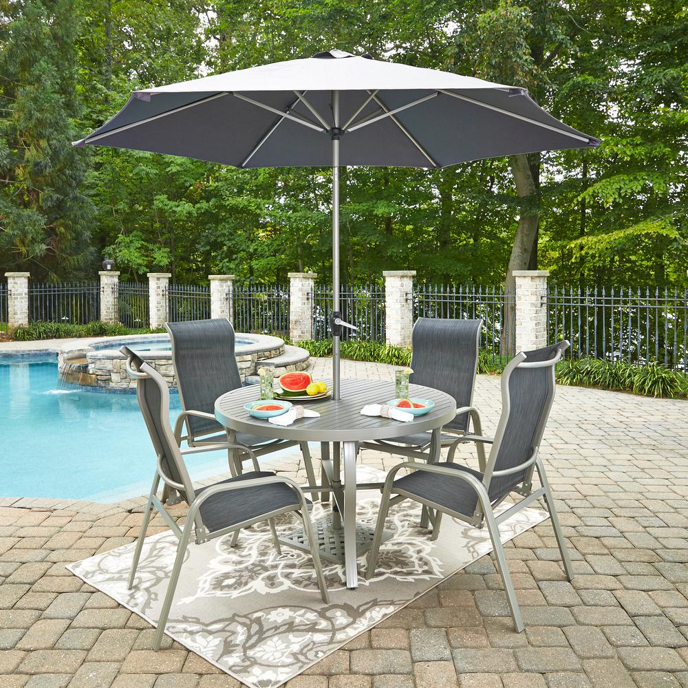 South Beach Gray Aluminum Sling Outdoor Dining Chair (2-Pack)
