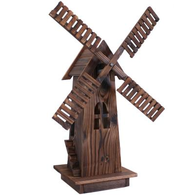 34 in. Wood Decorative Outdoor Lawn Decor Dutch Windmill