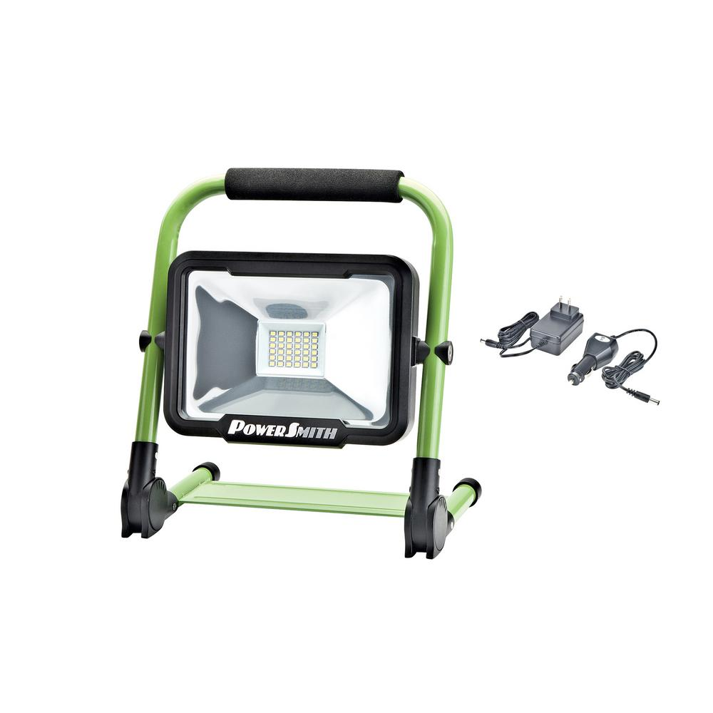 12 Watt Rechargeable Portable Led Work Light For Workshop: PowerSmith 20-Watt Green Rechargeable Foldable Integrated