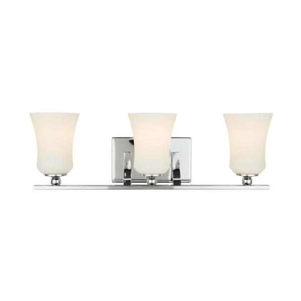 3-Light Chrome Square Bath Vanity Light with Etched White Glass