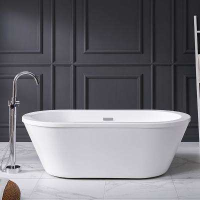Colton 63 in. Acrylic Flatbottom Non-Whirlpool Bathtub in White and Faucet Combo in Chrome