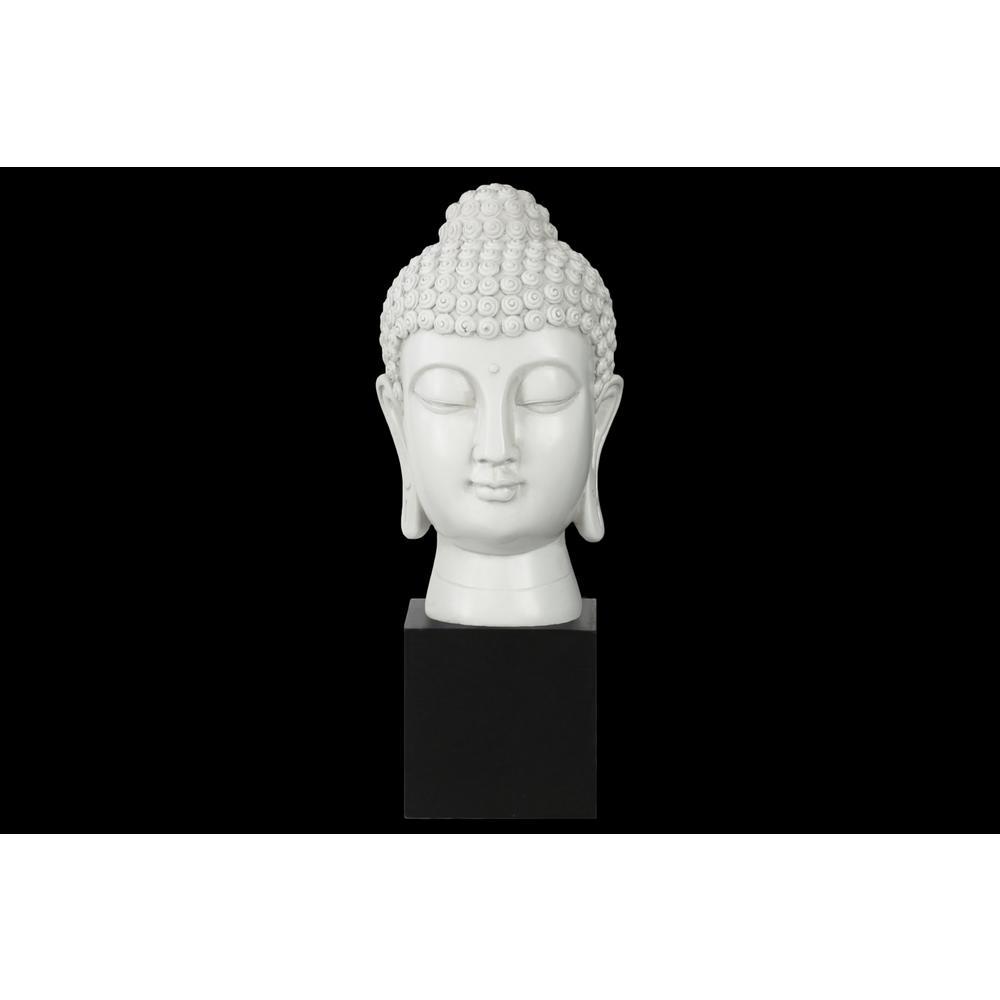 13.5 in. H Buddha Decorative Sculpture in White Gloss Finish