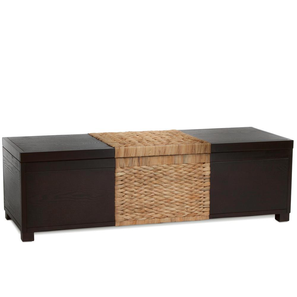 Rinaldi Two-Tone Brown Wood and Natural Rattan Storage Bench