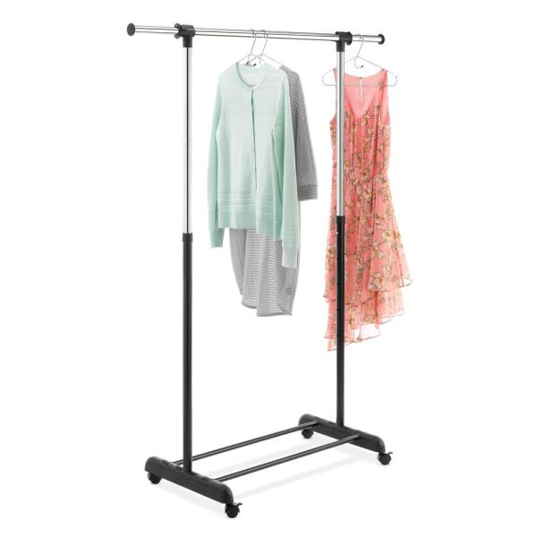Whitmor 64 50 In H X 47 In W X 17 30 In D Chrome And Black Metal 4 Wheel Garment Rack 6021 10150 The Home Depot