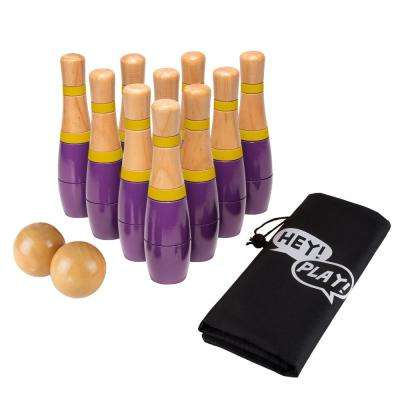 8 in. Wooden Purple and Yellow Bowling Lawn Game