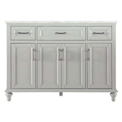 Charleston 49 in. W x 22 in. D Bath Vanity in Grey with Marble Vanity Top in Carrara White
