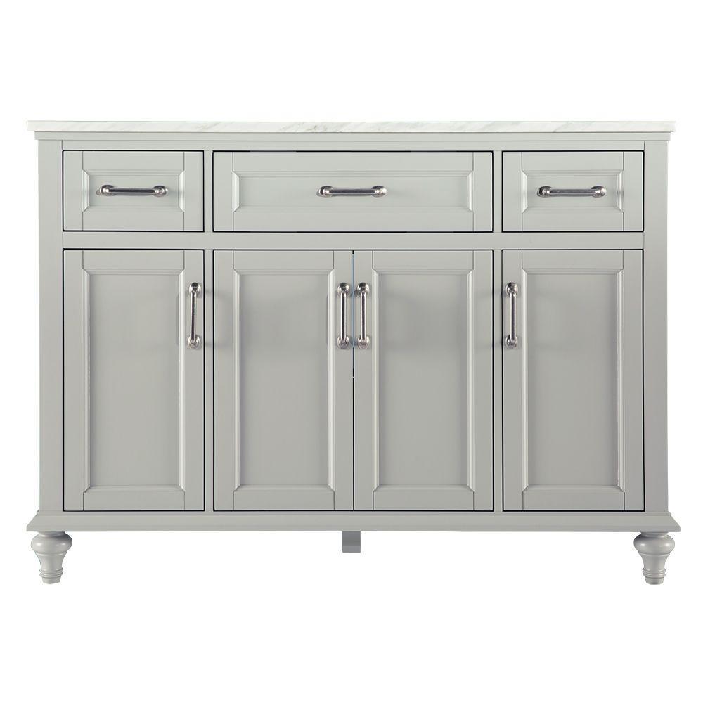 Charleston 49 in. W x 22 in. D Bath Vanity in Grey with Marble Vanity Top in Carrara White