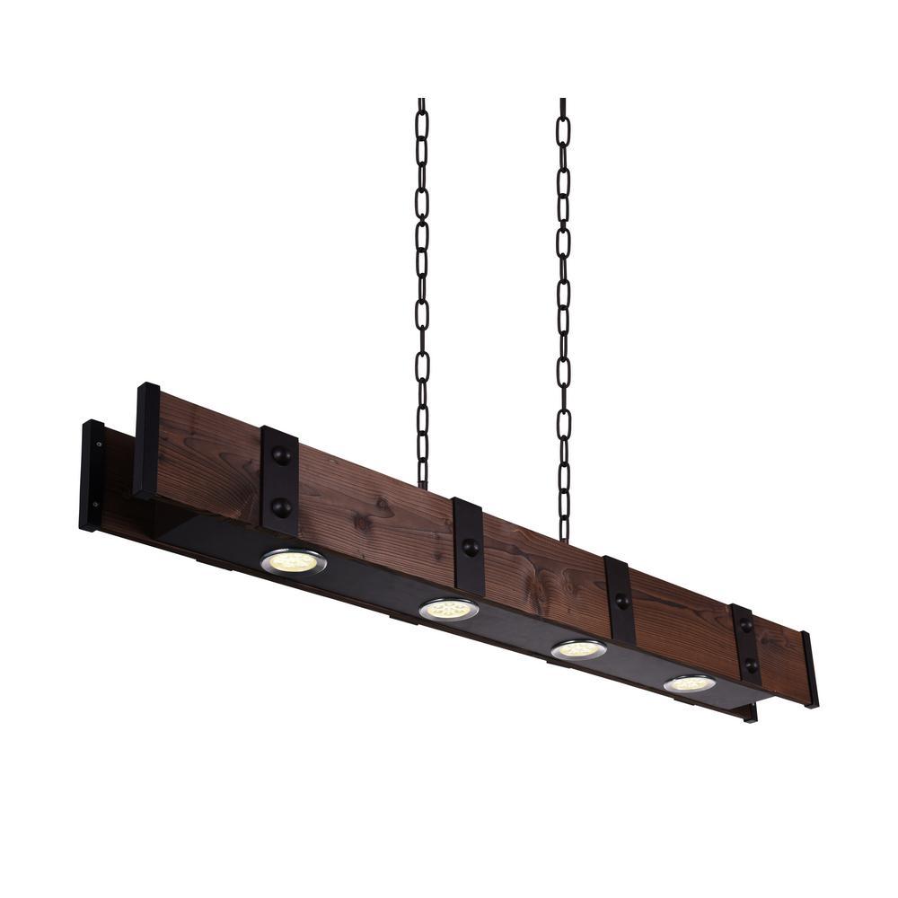 Pago 7-Watt Black Integrated LED Chandelier