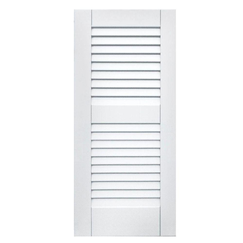Winworks Wood Composite 15 in. x 33 in. Louvered Shutters Pair #631 White