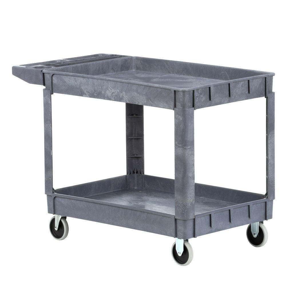 Heavy Duty 46 in. x 25 in. 2-Shelf Utility Cart with 5 in. Casters
