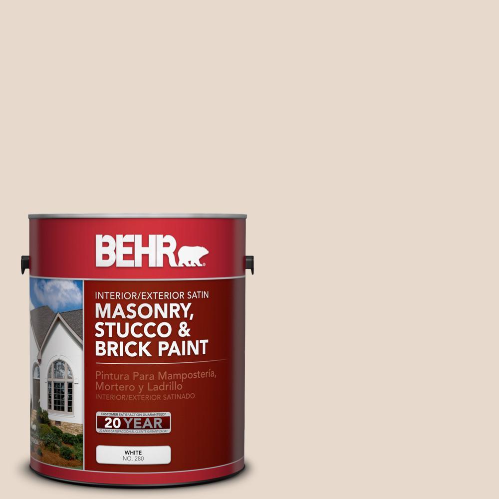 1 gal. #N240-1 Cascade Beige Satin Interior/Exterior Masonry, Stucco and Brick Paint