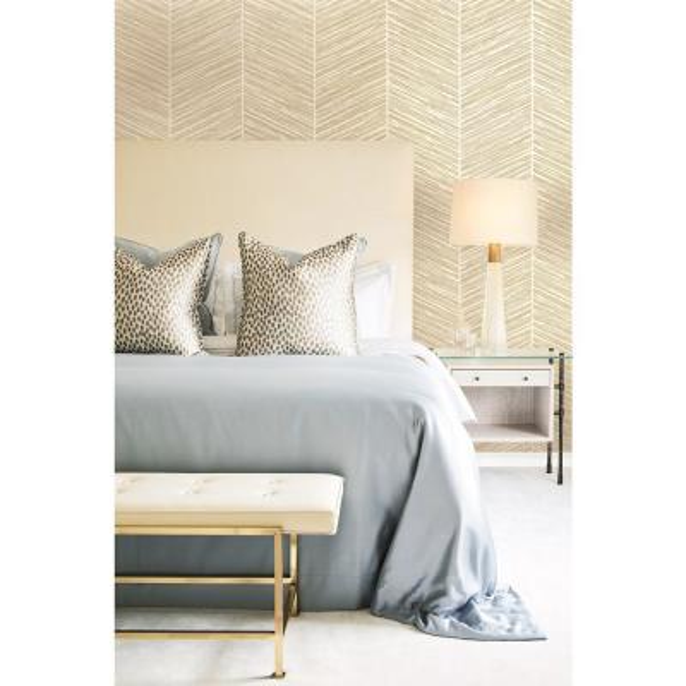 Metallic Gold and Off-White Herringbone Stripe Wallpaper