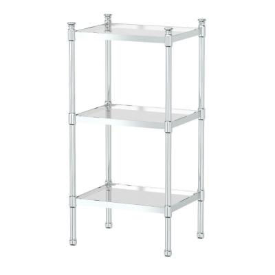 14.25 in. W x 28.25 in. H 3-Tier Rectangle Taboret in Chrome