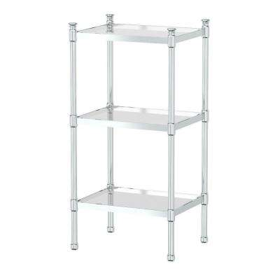 14.25 in. L x 28.25 in. H x 11.33 in. W 3-Tier Rectangle Taboret in Chrome