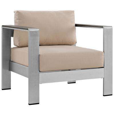 Shore Patio Aluminum Outdoor Lounge Chair in Silver with Beige Cushions