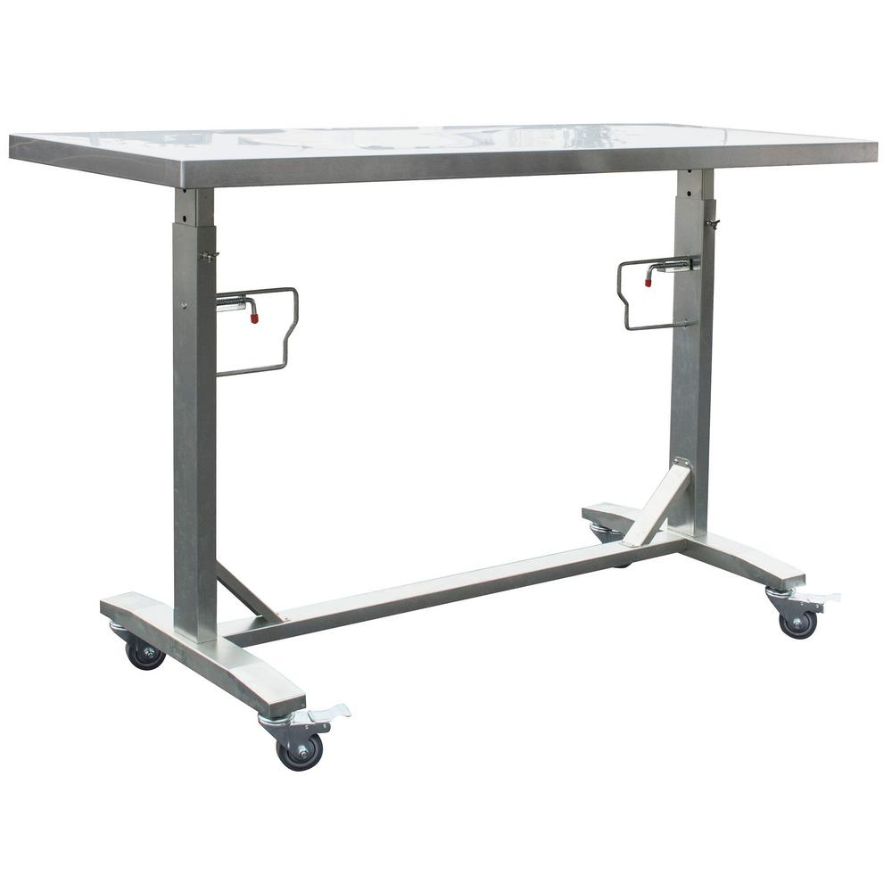 Stainless Steel Adjustable Height Work Kitchen Utility Table with Locking