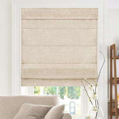 Cut-to-Width Flax Cordless Fabric Roman Shade - 34 in. W x 64 in. L