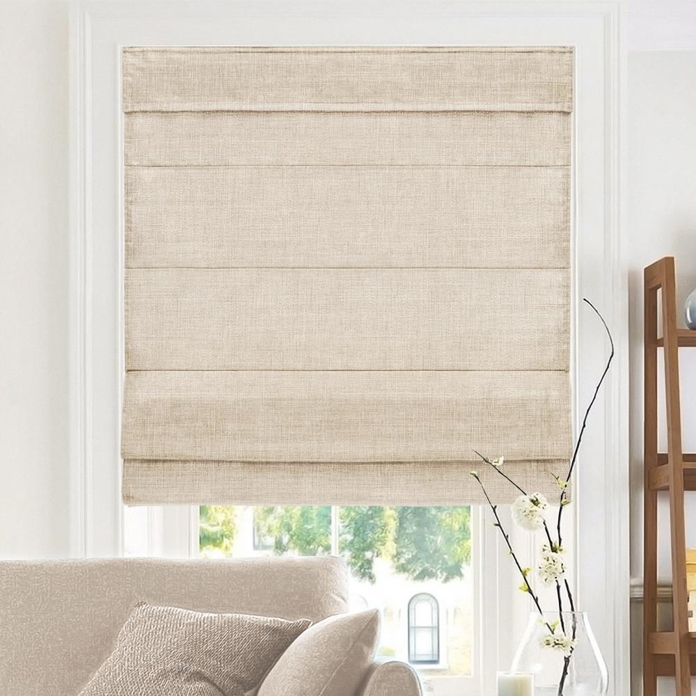 Cut-to-Width Flax Cordless Fabric Roman Shade - 39 in. W x 64 in. L
