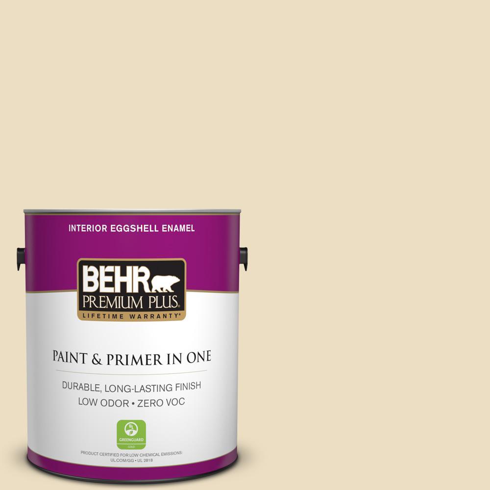 BEHR Premium Plus 1-gal. #PPL-76 Ecru Zero VOC Eggshell Enamel Interior Paint