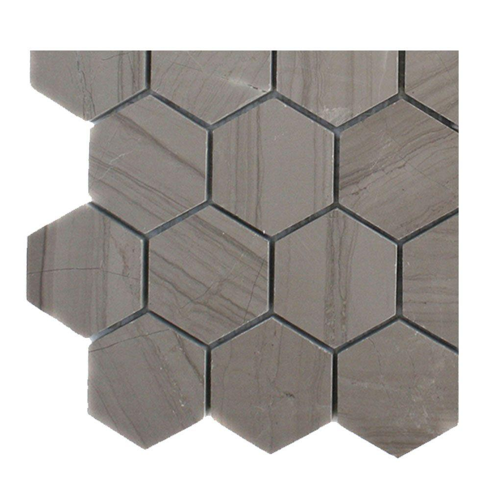 Splashback Tile Athens Grey Hexagon Polished Marble Floor