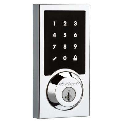 SmartCode 915 Touchscreen Contemporary Polished Chrome Single Cylinder Electronic Deadbolt featuring SmartKey