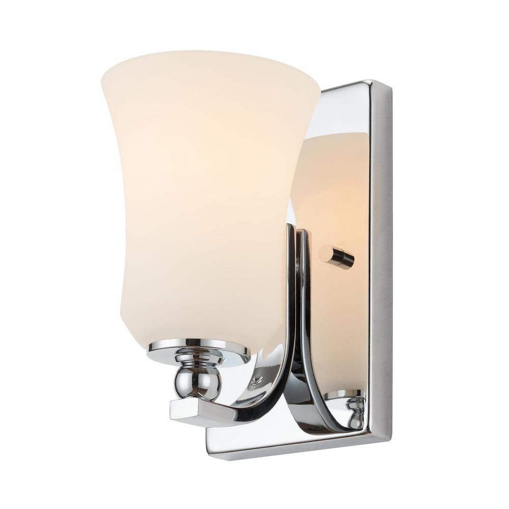 Home Decorators Collection 1-Light Chrome Square Bath Vanity Light with Etched White Glass