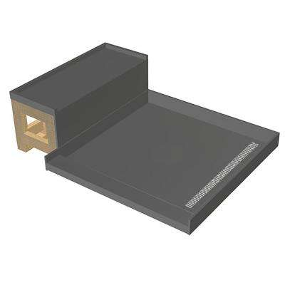42 in. x 60 in. Single Threshold Shower Base and Bench Kit with Right Drain and Brushed Nickel Trench Grate