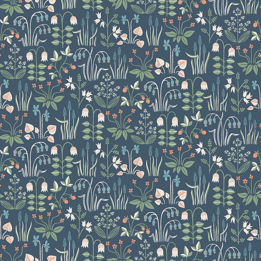 Wall Vision Strawberry Field Navy Garden Wallpaper Sample 2827