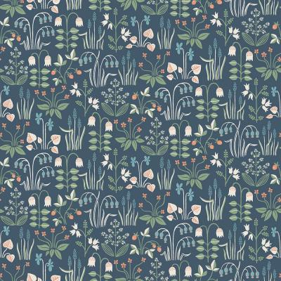 Strawberry Field Navy Garden Wallpaper Sample