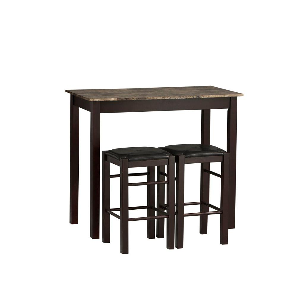 Beautiful Tavern 3 Piece Espresso Bar Table Set