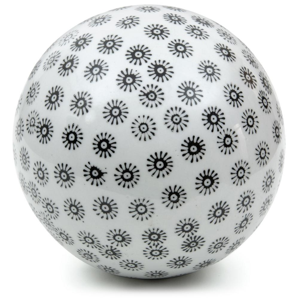Oriental Furniture 6 in. Decorative Porcelain Ball - White with Black