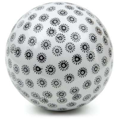Oriental Furniture 6 in. Decorative Porcelain Ball - White with Black Stars