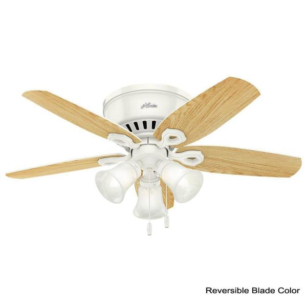 Hunter Builder Low Profile 42 in. Indoor Snow White Ceiling Fan-51090 - The  Home Depot | White Low Profile 42 Ceiling Fan Wiring Diagram Model |  | The Home Depot