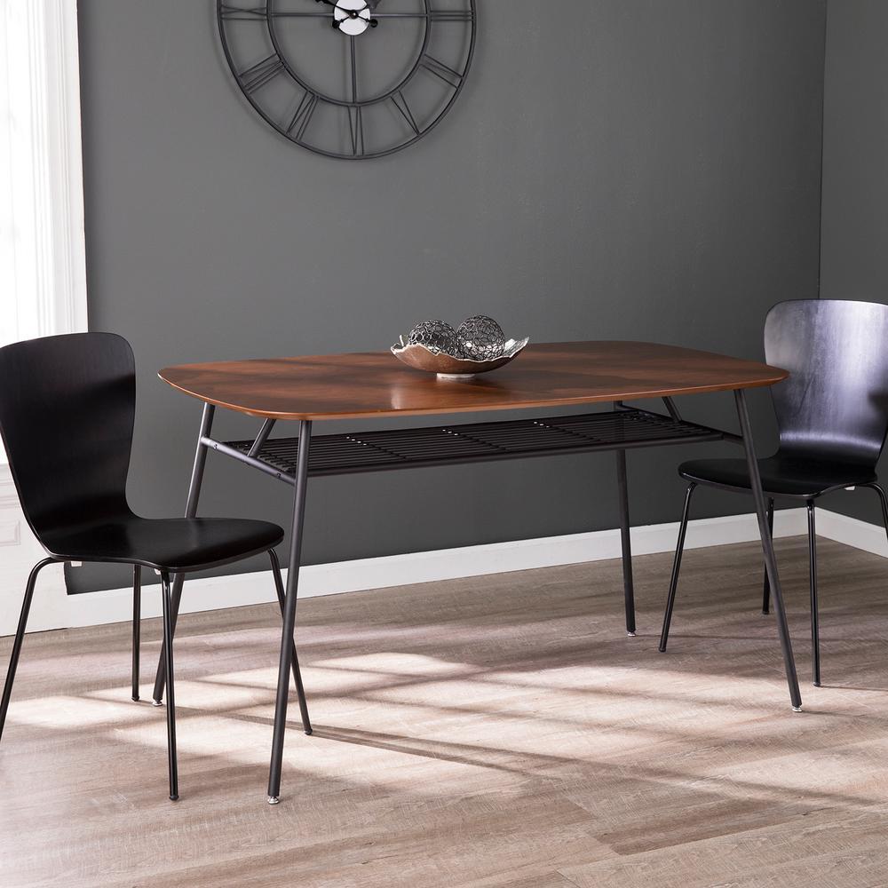 Winston Black and Walnut Midcentruy Modern Dining Table