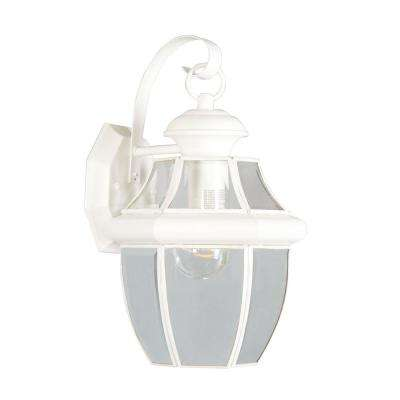 1-Light White Outdoor Wall Lantern with Clear Beveled Glass