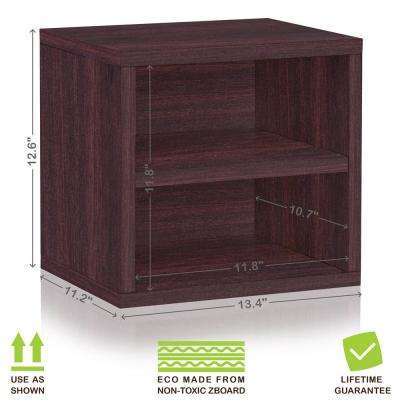 Connect System 13.4 in. x 12.6 in. zBoard Stackable Storage 1-Cube Organizer Unit with Shelf in Espresso Grain